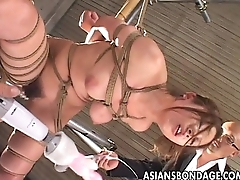 Asian honey roped up getting trinket fucked marvelously