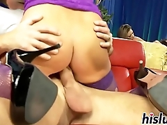 Three kinky wenches share a massive dick