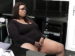 Busty ebony plumper bonk for job