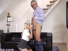 Teen tugs geezer for cum