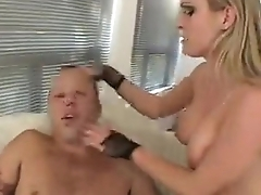 blonde peggs guy and makes him eat cum from her pussy