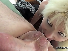 Derogatory mouth blonde tit fucks and rims man