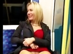 Auric showing her pussy in subway