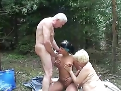 Sexy babe joins aged couple