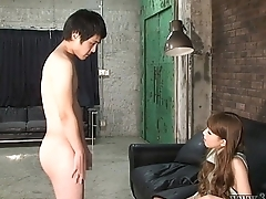 CFNM Japanese femdom Ruri like to watch a young naked man masturbates.