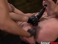 Spread slave gets caned