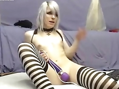 in striped stockings with a toy   cams.isexxx.net