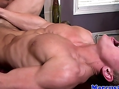Ripped hunk jerks his cock space fully assfucked