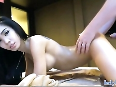 Cute Ladyboy Receiving Massage with Oil together with Anal Sex