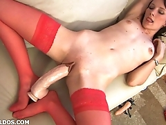 Amateur brunette everywhere red fishnets fucking a brutal dildo