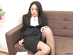 Asian office worker rubs her dishevelled pussy up