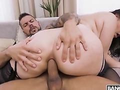 Awesome brunette blows big cock winning anal fucking