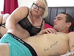 Chunky mature bitch with pierced cunt blows younger guy