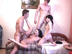 Incomparable Russian whores even the score with having amateur orgy
