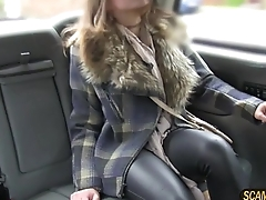 Murky unfocused rides a cab and gets her pussy banged as pin