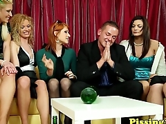 Classy euros pissing and cockriding in group