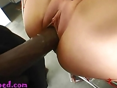 19 year old fake mamma stripper regrets taking this monster negro cock up the shitter