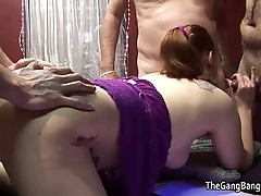 Gangbang and cumshots over redheads gluteus maximus cheeks