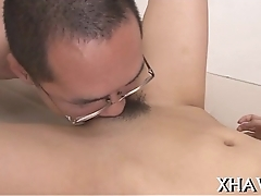 Hairy asian wet crevice sucked and fucked