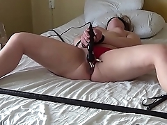My slut cumming in the long run b for a long time plugged and clamped