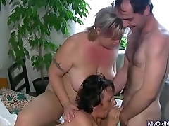 Threesome with granny plus babe