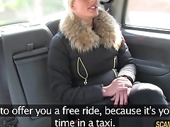 Hot blonde chick deepthroats the drivers massive cock